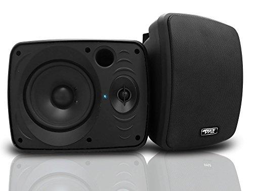 Outdoor Waterproof Wireless Bluetooth Speaker - 5.25 Inch Pair 2-Way Weatherproof Wall/Ceiling Mounted Dual Speakers w/Heavy Duty Grill, Universal Mount, Patio, Indoor Use - Pyle PDWR54BTB (Black)