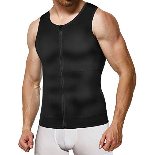 Irisnaya Mens Compression Shirt Slimming Body Shaper Vest Waist Trainer Workout Tank Tops Back Support Undershirts