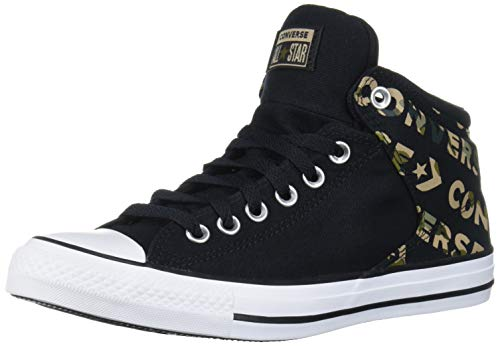Converse Women's Chuck Taylor All Star Logo Camo Print Street High Top Sneaker, Black/Desert Khaki/White, 10