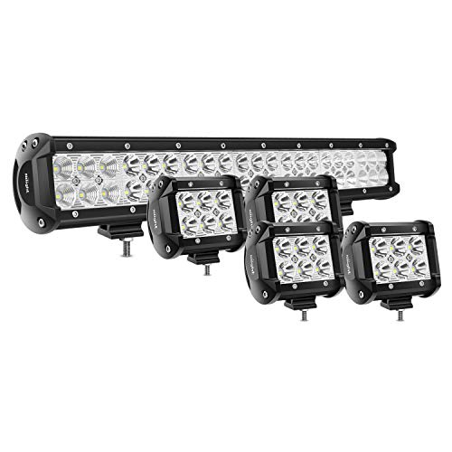 Nilight 20Inch 126W Spot Flood Combo Led Light Bar 4PCS 4Inch 18W Spot LED Pods Fog Lights for Jeep Wrangler Boat Truck Tractor Trailer Off-Road,2 years Warranty