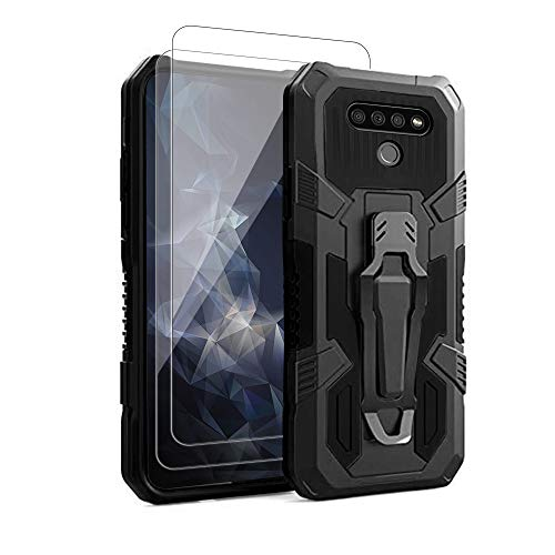 for LG K51 Phone Case,with Tempered Glass Screen Protector [2Pack] Heavy-Duty Military Grade 15ft. Drop Tested Protective Case for LG K51 -Black