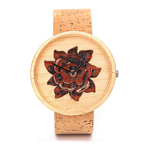 Ovi Watch - Red Magnolia Watch comes with Cork Watch Strap, Swiss Movement & Sapphire Glass