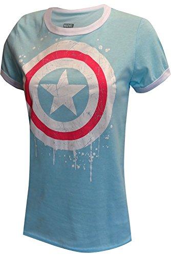 Marvel Women's Comics Ladies Captain America Paint Splatter T-Shirt (Large) Blue