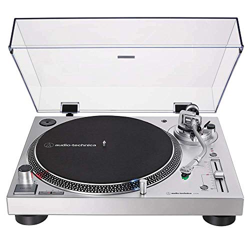 Audio-Technica AT-LP120XUSB Direct-Drive Turntable (Analog & USB), Silver, Hi-Fidelity, Plays 33 -1/3, 45, and 78 RPM Records, Convert Vinyl to Digital, Anti-Skate Control (Renewed)