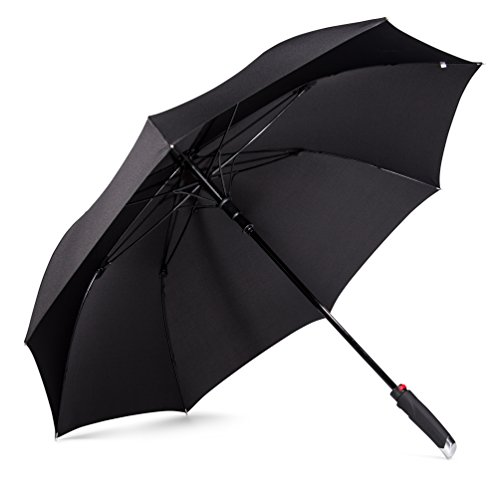 LifeTek New Yorker 54 Inch Windproof Automatic Open Golf Umbrella - Large Oversized Canopy - Wind Resistant All Weather Sports Rain or Sun Strong and Sturdy Stick Umbrellas for Men and Women FX1 Black