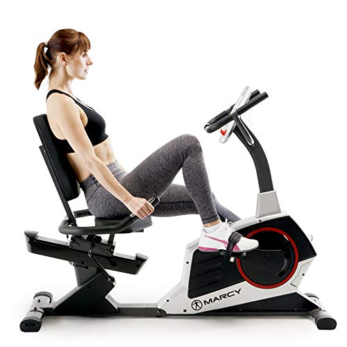 Marcy Regenerating Recumbent Exercise Bike with Adjustable Seat, Pulse Monitor and Transport Wheels ME-706