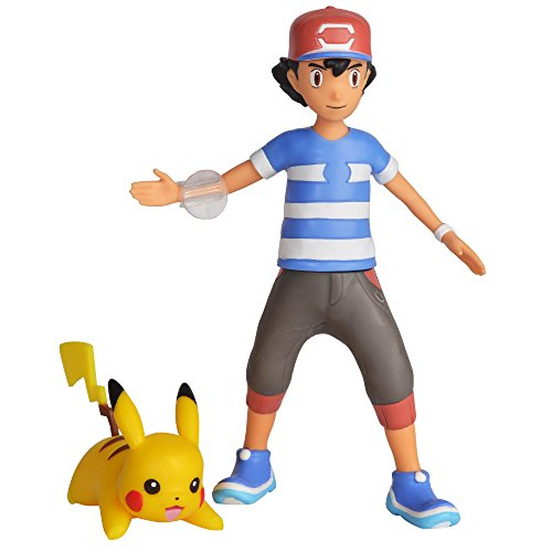 Pokemon 4.5' Battle Feature Action Figure, Features Ash and Launch into Action 2 inch Pikachu