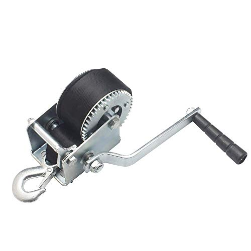 OPENROAD 600lbs Boat Winch Strap with Hook,Hand Crank Gear Winch, Portable Manual Winch for Trailer, Strap Hand Winch