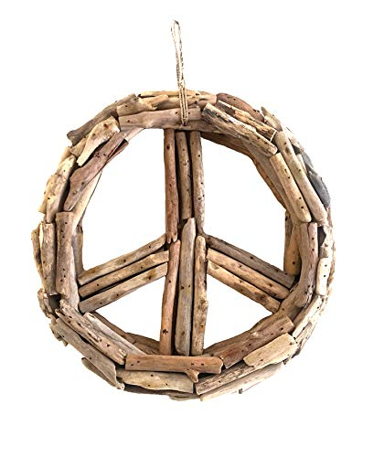 OMA Driftwood Wreath Peace Sign Driftwood Decor Recycled Natural Hand Crafted Driftwood Wall Decor - Large Size