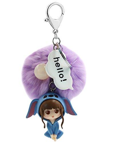 Cute Girl Keychain Soft Big Fluffy Ball Keyring Bag Decoration Gift for Women