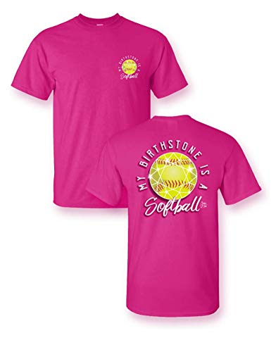 Sassy Frass Softball is My Birthstone Youth Girls T-Shirt (Small) Neon Pink