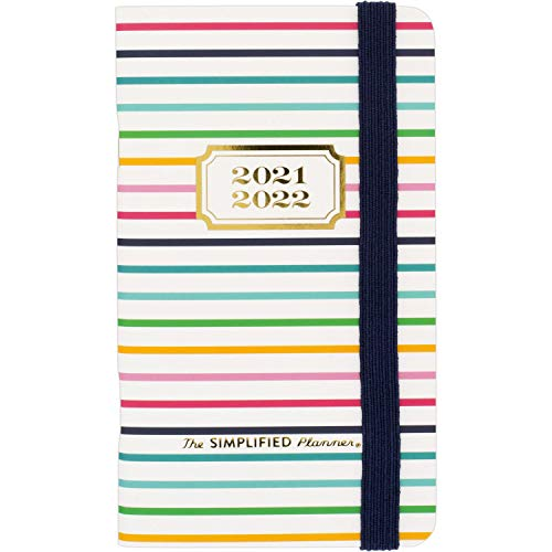 2021-2022 Pocket Calendar Simplified by Emily Ley for AT-A-GLANCE, 2 Year Monthly Planner, 3-1/2' x 6', Pocket Size, Thin Happy Stripe (EL50-021)