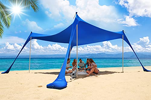 Family Beach Tent Sun Shelter, Cophcy Portable Beach Canopy for 4-8 Person, Outdoor Camping Shade UPF50+ with Sand Shovel, Aluminum Poles, Sandbag Anchors.(1010FT 4 Poles)