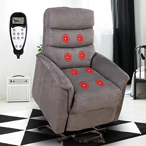Good & Gracious Power Lift Chair with Massage for Elderly, Electric Power Lift Recliner with Remote Control, Heavy Duty and Soft Fabric Sofa for Living Room, 3 Position, Gray