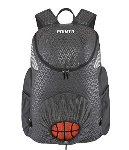 Point 3 Road Trip 2.0 Basketball Backpack with Ball & Shoe Storage (Gray)