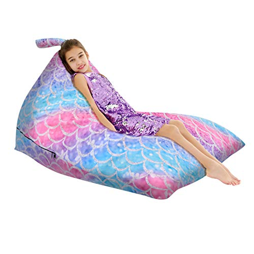 MELANIE'S POWER olyee 200L Animal Storage Bean Bag Cover, Kids Toy Storage Organizer Stuffie Seat Soft Velvet Floor Foldable Chair Sofa Seat Cover for Kids and Adults(Mermaid Scale)