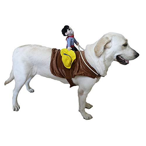 SEIS Pet Riding Costume Novelty Pet Supplies Cowboy Rider Horse Riding Designed Dog Apparel Party Dressing up Clothing Halloween (XL)