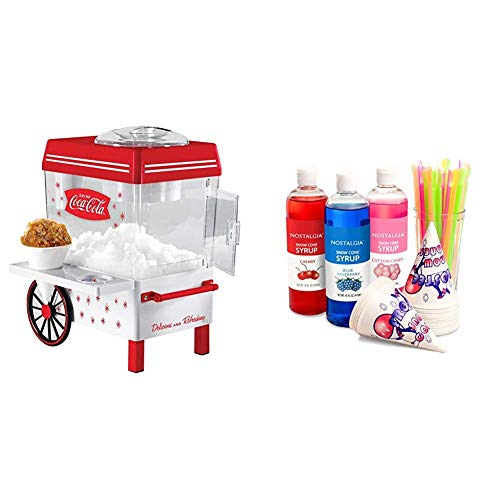 Nostalgia SCM550COKE Coca-Cola Snow Cone Maker with Premium Snow Cone Syrup Party Kit