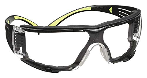 3M Safety Glasses, SecureFit, 1 Pair, ANSI Z87, Anti-Fog, Anti-Scratch, Clear Lens, Green/Black Frame, Secure Comfortable Fit, Removable Foam Gasket