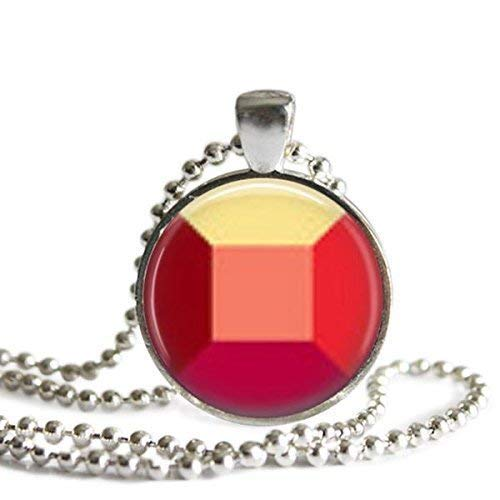 Steven Universe Ruby Gem 1 inch Silver Plated Pendant Necklace