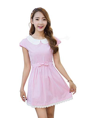 TULIPTREND Women's Fresh Doll Collar Short Sleeve Dress Pink US Large/Asian X-Large