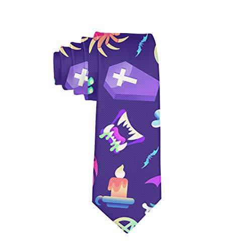 Men's Classic Necktie Skinny Novelty Skull Zombies Pattern Neck Ties Great for Business, Wedding, Groom, Groomsmen, Gentleman, Party, Gifts