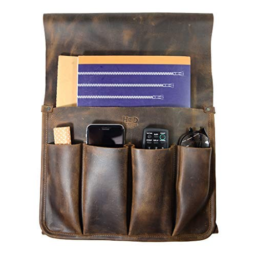 Hide & Drink, Durable Leather Remote Control & Magazine Holder, Couch Organizer, Sofa Armrest Pouch, Couch Potato Essentials, Handmade Includes 101 Year Warranty :: Bourbon Brown
