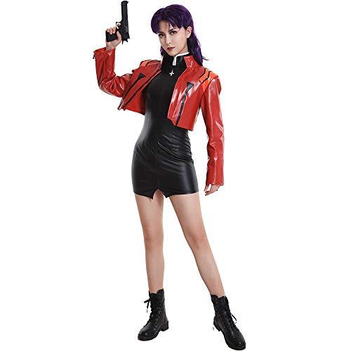 Cosplay.fm Women's Katsuragi Misato Cosplay Costume Jacket Dress with Cross Necklace (XL) Red