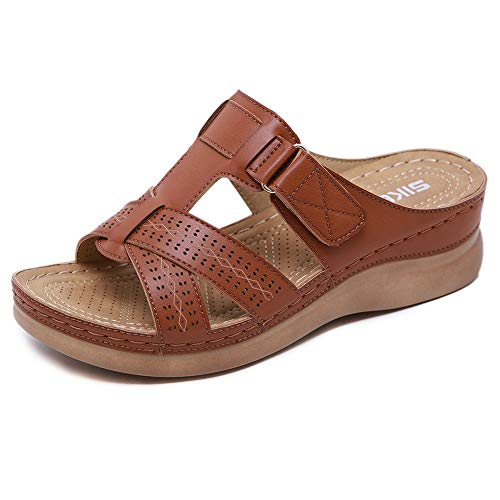 Meeshine Women's Summer Beach Flat Sandals Bohemia Flip Flops Platform Slide Comfort Walking Shoes Brown US 9.5