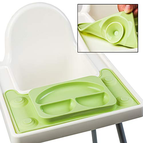 EasyMat Design for IKEA Antilop High Chair. Bespoke Design Baby Suction Plate and Placemat. Best Accessory for Baby led weaning. Made to Measure with Strong Suction. (Olive)