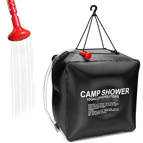 KIPIDA Solar Shower Bag for Camping,10 gallons/40L Solar Heating Shower Bag with Removable Hose and On-Off Switchable Shower Head,Camping Accessories for Camping Beach Swimming Traveling Hiking