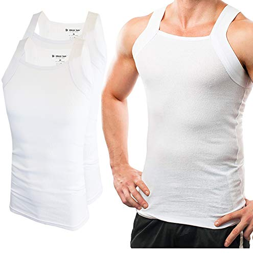 Different Touch Men's G-unit Style Tank Tops Square Cut Muscle Rib A-Shirts -  Large - White, Pack of 2