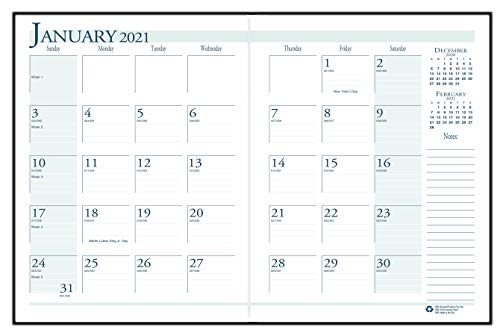 House of Doolittle 2021 Economy Calendar Planner, Monthly, Black Cover, 7 x 10 Inches, December - January (HOD260602-21)