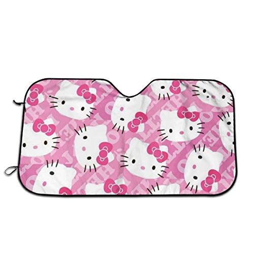YQLDFB Car Windshield Sunshade Pink Hello Kitty Sun Heat Shield Shade UV Ray Visor Protector, Keep Vehicle Cool