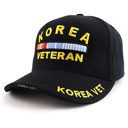 Korea Veteran 3D Embroidered Sandwich Bill Military Baseball Cap (One Size, Black)