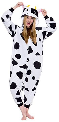 Silver Lilly Adult Pajamas - Plush One Piece Cosplay Animal Costume (Cow, S)