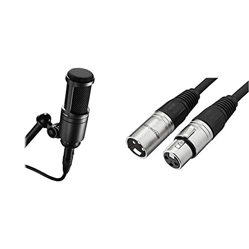 Audio-Technica AT2020 Cardioid Condenser Studio XLR Microphone, Black, Ideal for Project/Home Studio Applications & Amazon Basics XLR Male to Female Microphone Cable - 6 Feet, Black