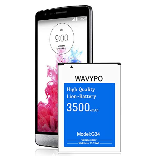 (Upgraded) Wavypo LG G3 Battery, 3500mAh Replacement Battery for LG G3 BL-53YH, D852, D855, D850, D851, VS985, LS990, G3 Spare Battery [12 Months Service]