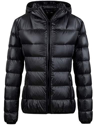 Wantdo Women's Lightweight Puffer Down Jacket Packable Winter Coat Black L