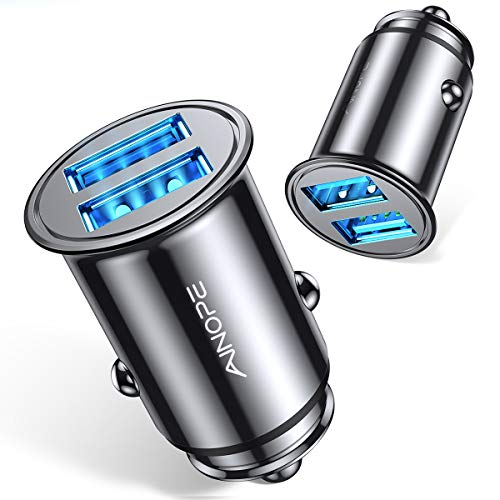 [2-Packs] Car Charger, All Metal Mini Cigarette Lighter USB Charger AINOPE 4.8A Car Charger Adapter Flush Fit Compatible with iPhone 12/11pro/x/7/6s, iPad Air 2/Mini 3, Galaxy S10/S9/S8-Black