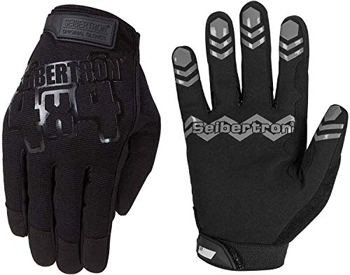 Seibertron Anti Grip Unweighted Basketball Gloves Ball Handling Gloves (Basketball Training Aid) Or Driving Gloves Black L