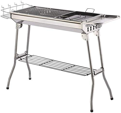 Charcoal Grill Kabab grills Portable BBQ - Stainless Steel Folding BBQ Camping Grill Large Hibachi Grill Shish Kabob Portable Camping Cooking for Travel Grill Outdoor