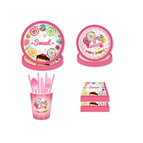 Candy Land Party Supplies Pack(16Guests), Candy Party Tableware Kit,Paper Plates,Cups,Napkins