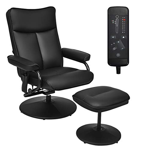 Giantex Electric Massage Recliner Chair with Ottoman, Faux Leather Swivel Recliner Remote Control, 8 Vibration Modes & 4 Massage Motors, Overstuffed Padded Seat Chairs (Black)