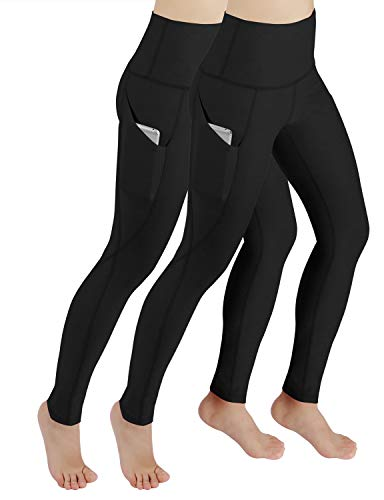 ODODOS Women's High Waist Yoga Pants with Pockets,Tummy Control,Workout Pants Running 4 Way Stretch Yoga Leggings with Pockets,Black2Pack,Large