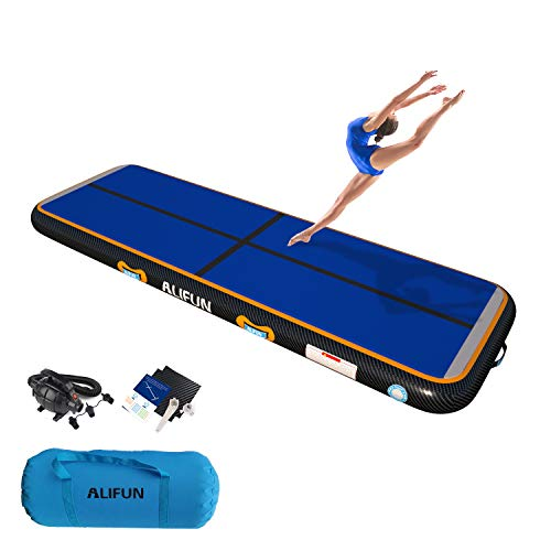 ALIFUN Premium Air Track 10ft Thick 8in Airtrack Gymnastics Tumbling Mat Inflatable Tumble Track with Electric Air Pump for Home Use/Gym/Yoga/Training/Cheerleading Black