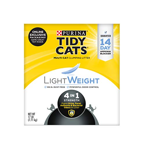 Purina Tidy Cats Light Weight, Low Dust, Clumping Cat Litter, LightWeight 4-in-1 Strength Multi Cat Litter - 17 lb. Box