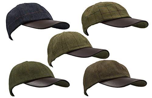 Walker and Hawkes Men's Derby Tweed Baseball Cap Hunting Shooting Hat Leather Peak One Size Dark Sage