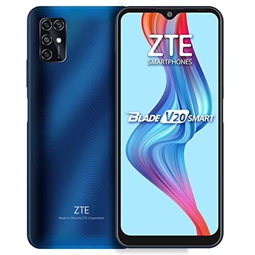ZTE Blade V20 Smart (128GB, 4GB) 6.82', 16MP Quad Camera, 5000mAh Battery, Fingerprint & Face Unlock, GSM Unlocked US + Latin 4G LTE (T-Mobile, AT&T) International Model 8010 (Blue)