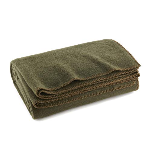 Ever Ready First Aid Olive Drab Green Warm Wool Fire Retardent Blanket, 66' x 90' (80% Wool)-US Military